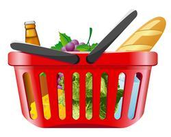 carrinho de compras com alimentos vetor