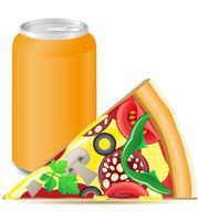 pizza e latas de alumínio com refrigerante