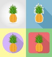 abacaxi frutas planas conjunto de ícones com a ilustração do vetor de sombra