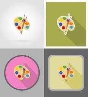 paleta e pincel liso ícones ilustração vetorial vetor