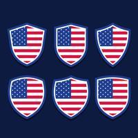 Bandeira americana patriótica escudo estrelas listras elemento conjunto vetor