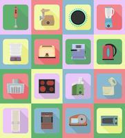aparelhos domésticos para ilustração em vetor ícones plana cozinha