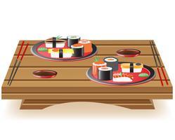 Suchi servido na ilustração vetorial de mesa de madeira