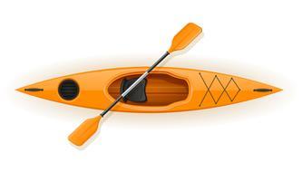 caiaque de plástico para ilustração vetorial de pesca e turismo vetor