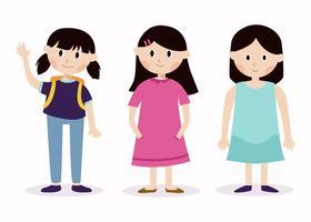 3 personagens de menina vetor
