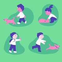 Conjunto de caracteres de crianças brincando com animal de estimação vetor