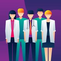 Personagens médicas em pé juntos vetor