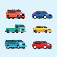 Conjunto de ilustração de veículo de transporte vetor