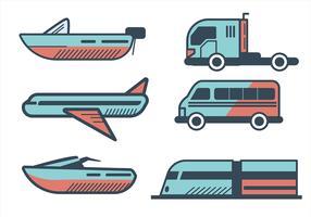 Clipart de transporte definido no estilo de linha grossa vetor