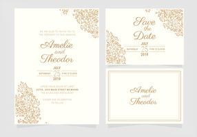 Modelo de convite de casamento elegante de vetor