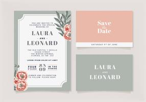 Modelo de convite de casamento floral vetor