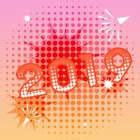 Banner de ano novo de 2019 com efeitos de texto em quadrinhos vetor
