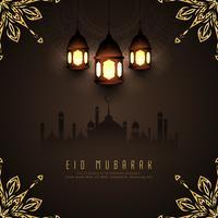 Projeto abstrato do fundo islâmico de Eid Mubarak vetor