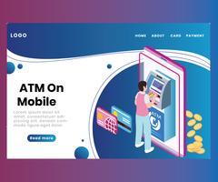ATM na tecnologia móvel, onde um homem está transferindo o conceito isométrico da arte finala do dinheiro
