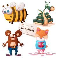 Abelha, cobra, urso, raposa - conjunto de animais
