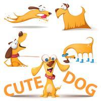 Cão bonito conjunto. Ilustração engraçada.