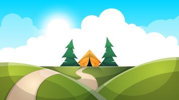 Paisagem dos desenhos animados. Barraca, sol, abeto, nuvem, ilustração de estrada. vetor