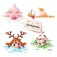 Conjunto de animais do sono - porco, pato, veado, vaca