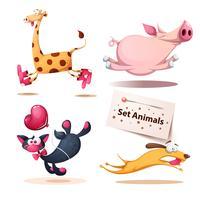 Girafa, porco, gato, animais de cachorro