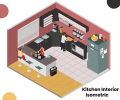 Conceito de arte isométrica de cozinha Interior vetor