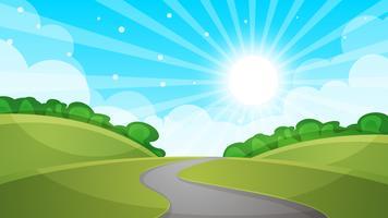 Ilustração da estrada da paisagem dos desenhos animados. vetor