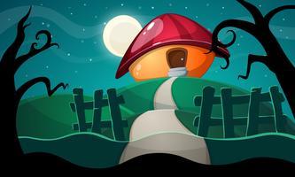 paisagem dos desenhos animados com casa de cogumelo. vetor