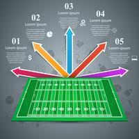 Futebol americano. Campo de Gren. Infográfico de negócios.