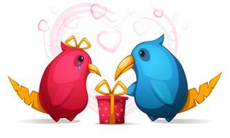 Pássaro engraçado, bonito dois dos desenhos animados com um grande bico. Presente para menina.