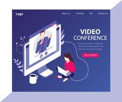 Conceito de arte isométrica de videoconferência vetor