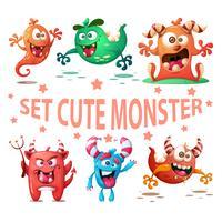 Definir a ilustração de monstro bonito. Personagens engraçados vetor
