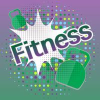 Banner de fitness com efeitos de texto em quadrinhos vetor