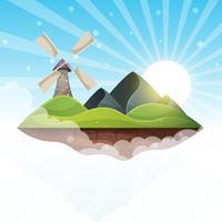 Moinho, ilha, montanha, sol, colina - ilustração.