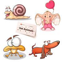 Caracol, elefante, sapo, cachorro - conjunto de animais vetor