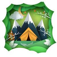 Pape summer landsape. Montanha, ilustração de tenda.