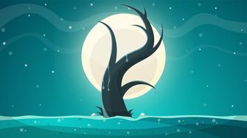 Árvore, paisagem de grama de lua.