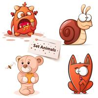 Monstro, caracol, urso, gato - personagens de desenhos animados.