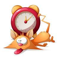 Desenhos animados sono engraçado, gato bonito e despertador. Eps10 vector