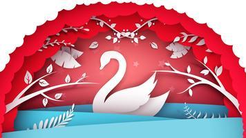 Ilustração do mar de papel. Personagens de cisnes vetor