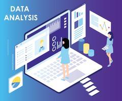 Conceito de arte-final de análise de dados isométrica vetor
