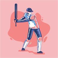 Batedor Jogando Críquete vetor