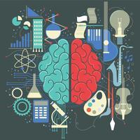 Esquerda Direita Conceito Cérebro Humano vetor