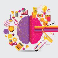 Cérebro esquerdo analítico e direito hemisférios criativos conceito vetor