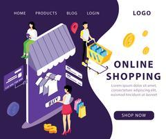 Conceito de obras de arte isométrica de compras on-line