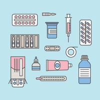 Elementos de saúde delineados vetor