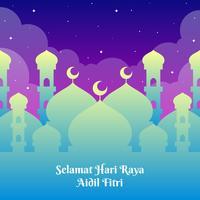 Modelo de saudações de Hari Raya com fundo de Mesquita vetor
