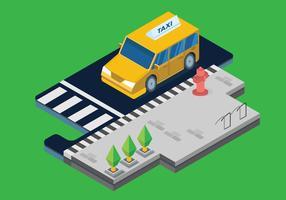 Transporte público no vetor isométrico da cidade de Steet