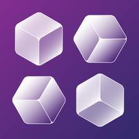 Conjunto de elementos de cubos de gelo sólido frio vetor