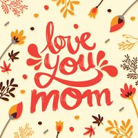 """Love You Mom"" Tipografia Vector Design"