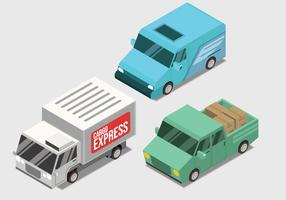 Entrega transporte isométrico Vector Set