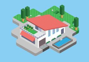 Vetor isométrico moderno da casa minimalista